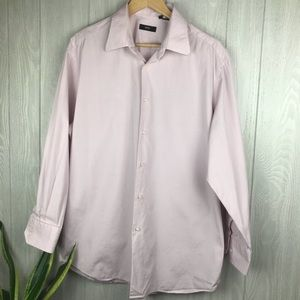 Hugo Boss pink and white check button down shirt